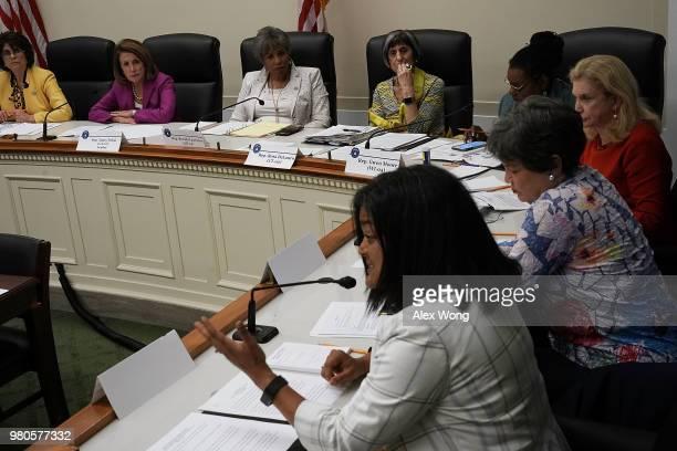 Clockwise from left US Rep Lucille RoybalAllard House Minority Leader Rep Nancy Pelosi Rep Brenda Lawrence Rep Rosa DeLauro Rep Gwen Moore Rep...