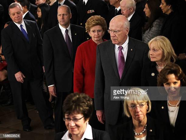 Clockwise from left US Senate Majority Whip Sen Richard Durbin former Sen John Sununu Sen Debbie Stabenow Senator and President Pro Tempore Patrick...