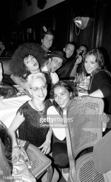 Clockwise from lower left Dany Johnson Ann Magnuson Stefan Haves Keith Haring Kenny Scharf unidentified Hope Haves and Tereza Scharf at a party at...
