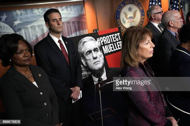 Clockwise from the left US Rep Val Demings Rep John Sarbanes Rep Peter Welch and Rep Jackie Speier listen during a news conference to show support of...