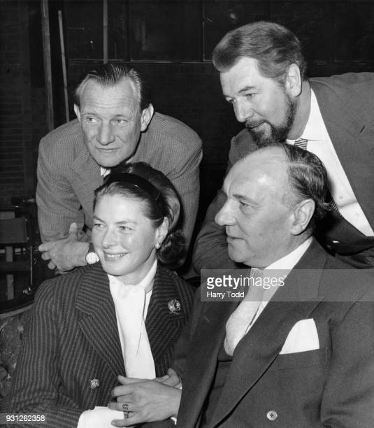 Clockwise from top left actors Trevor Howard Michael Redgrave Sir Ralph Richardson and Ingrid Bergman during rehearsals for the Ibsen play 'Hedda...