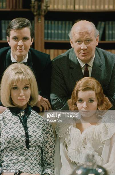 British actors Ian Ogilvy William Mervyn Isla Blair and New Zealand born actress Nyree Dawn Porter pictured together on the set of the television...