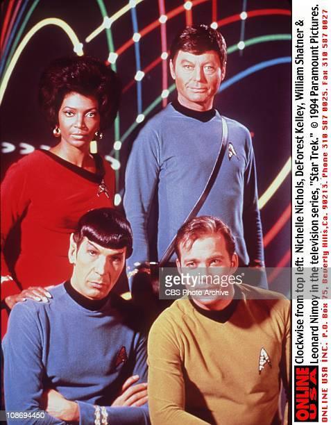 Clockwise from top left: Nichelle Nichols, DeForest Kelley, William Shatner & Leonard Nimoy in the television series 'Star Trek', circa 1969.