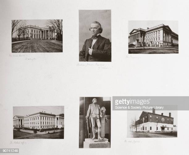 Clockwise from top left; the White House, President Andrew Johnson, the Treasury, the Old Capitol, Statue of George Washington, the Patent Office....