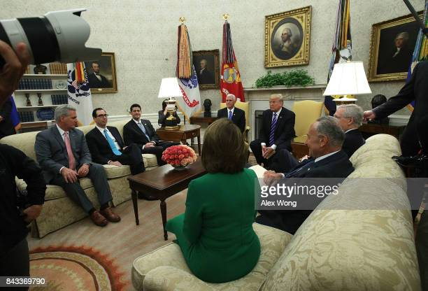 Clockwise from top US Vice President Mike Pence and President Donald Trump meet with Senate Majority Leader Mitch McConnell Senate Minority Leader...