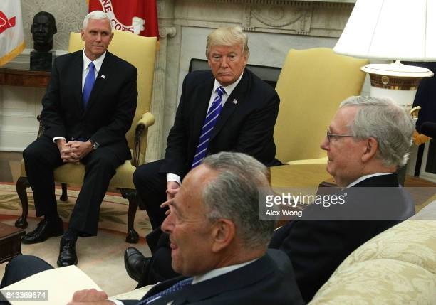 Clockwise from upper left US Vice President Mike Pence and President Donald Trump meet with Senate Majority Leader Mitch McConnell Senate Minority...