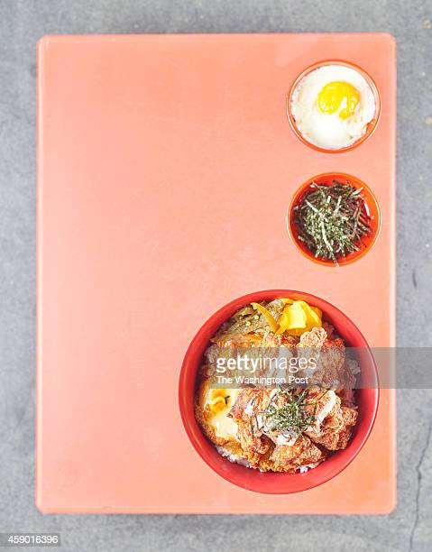 Clockwise Onsen egg Kizami Nori and Karaagedon photographed at Donburi in Washington DC