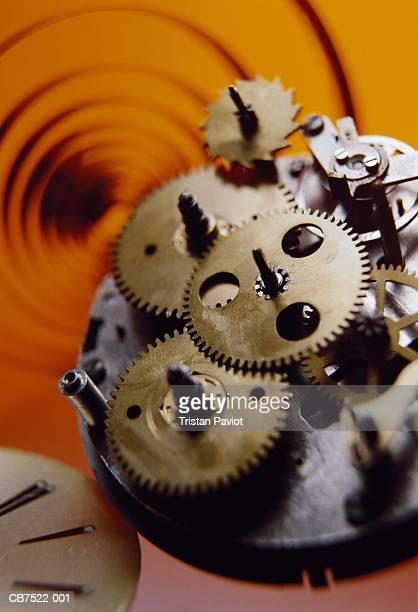 Clockwork mechanism, interlocking gears, close-up