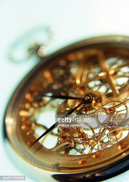 Clockwork of pocket watch, close-up
