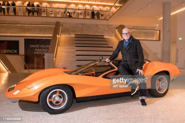 Clockwork Orange actor Malcolm McDowell is reunited with Probe 16 car from the film at The Design Museum on April 04 2019 in London United Kingdom