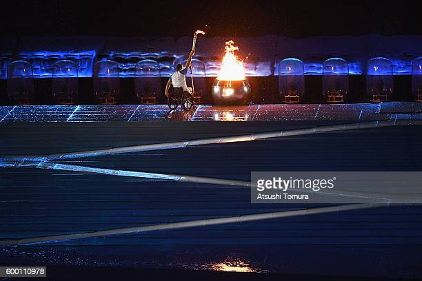 Clodoaldo Silva lights the cauldron during the Opening Ceremony of the Rio 2016 Paralympic Games at Maracana Stadium on September 7, 2016 in Rio de...