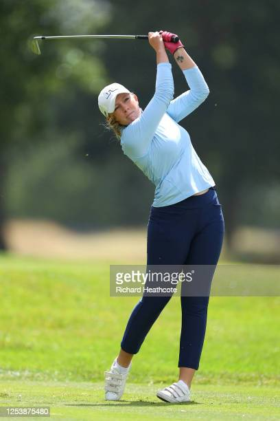 Cloe Frankish hits her tee shot at the 3rd during The Rose Ladies Series at Buckinghamshire Golf Club on July 02 2020 in Denham England