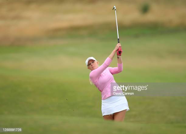 Cloe Frankish of England plays her second shot on the 10th hole during The Rose Ladies Series the first Ladies professional golf event to be held at...
