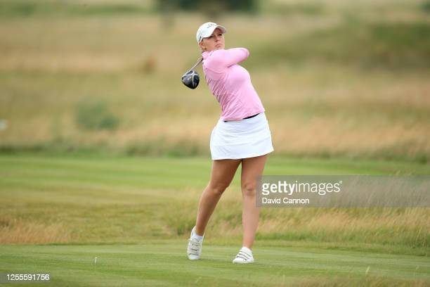 Cloe Frankish of England plays her tee shot on the 10th hole during The Rose Ladies Series the first Ladies professional golf event to be held at The...