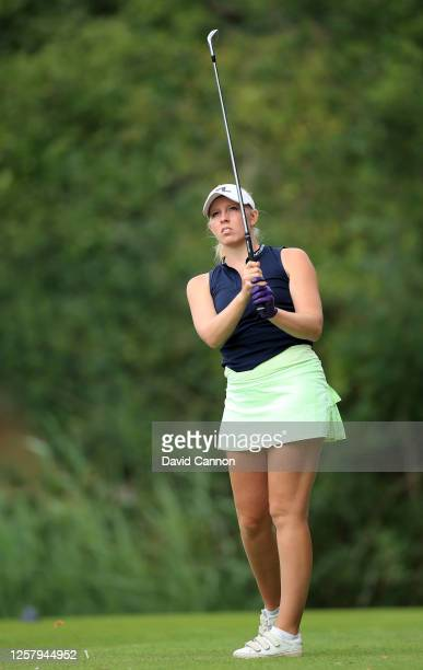 Cloe Frankish of England plays her tee shot on the 14th hole during The Rose Ladies Series at Bearwood Lakes on July 23 2020 in Wokingham England