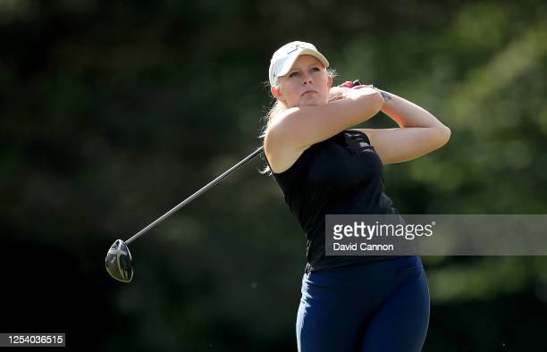 Cloe Frankish of England plays her tee shot on the 18th hole during The Rose Ladies Series at Buckinghamshire Golf Club on July 02 2020 in Uxbridge...