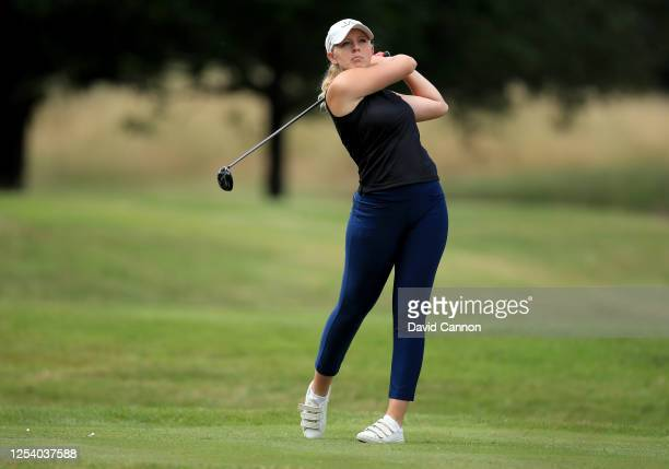 Cloe Frankish of England plays her tee shot on the 8th hole during The Rose Ladies Series at Buckinghamshire Golf Club on July 02 2020 in Uxbridge...