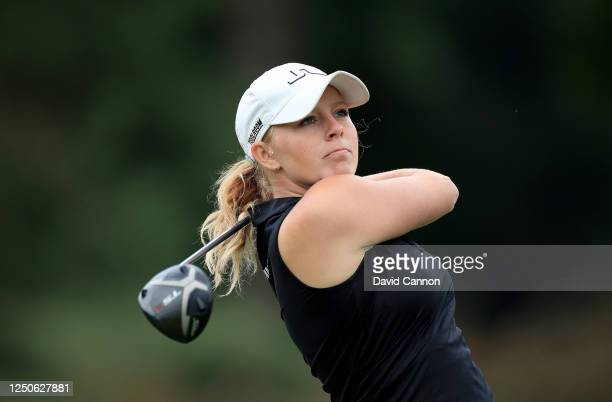 Cloe Frankish of England plays her tee shot on the first hole during The Rose Ladies Series at Brokenhurst Manor Golf Club on June 18 2020 in...