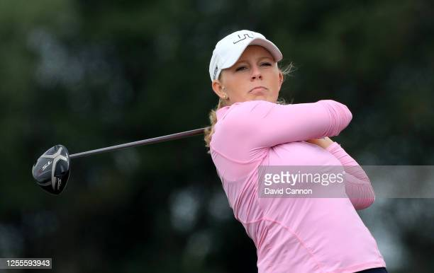 Cloe Frankish of England plays her tee shot on the first hole during The Rose Ladies Series the first Ladies professional golf event to be held at...