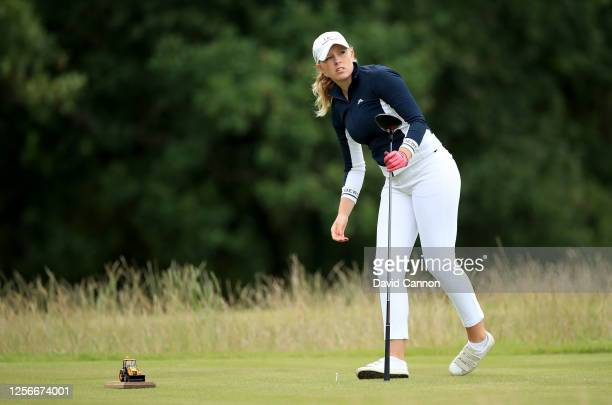 Cloe Frankish of England plays her tee shot on the fourth hole during The Rose Ladies Series at the JCB Golf and Country Club on July 16 2020 in...