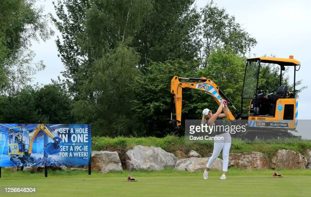 Cloe Frankish of England plays her tee shot on the ninth hole during The Rose Ladies Series at the JCB Golf and Country Club on July 16 2020 in...