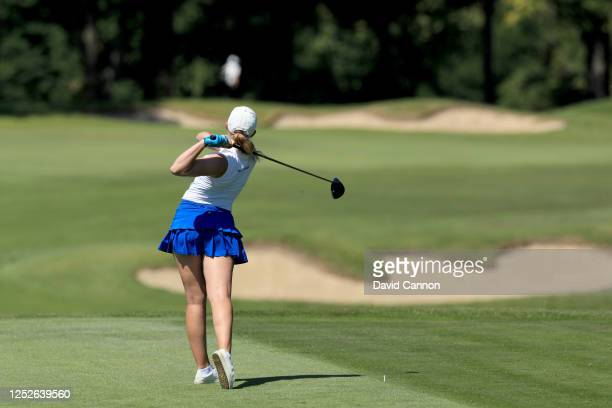 Cloe Frankish of England plays her tee shot on the second hole during The Rose Ladies Series on the High Course at Moor Park Golf Club on June 25...
