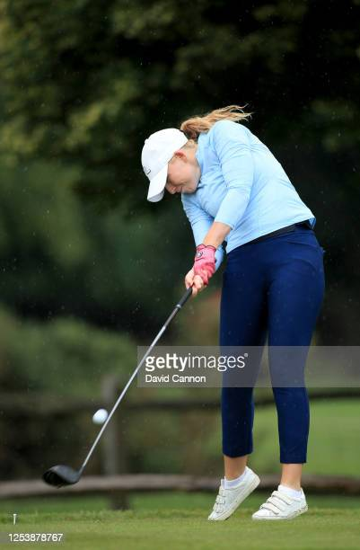 Cloe Frankish of England plays her tee shot on the second hole during The Rose Ladies Series at Buckinghamshire Golf Club on July 02 2020 in Uxbridge...