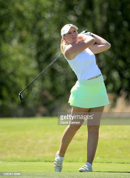 Cloe Frankish of England plays her tee shot on the sixth hole during The Rose Ladies Series at The Shire London on July 30 2020 in Barnet England