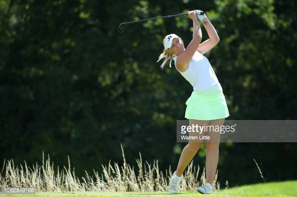 Cloe Frankish of England tees off on the second hole during The Rose Ladies Series at The Shire London on July 30 2020 in Barnet England