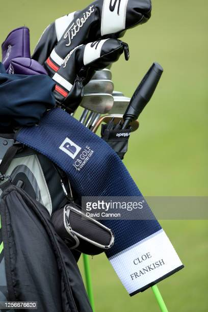 Cloe Frankish of England's golf bag with a JCB Golf towel on the fourth hole during The Rose Ladies Series at the JCB Golf and Country Club on July...