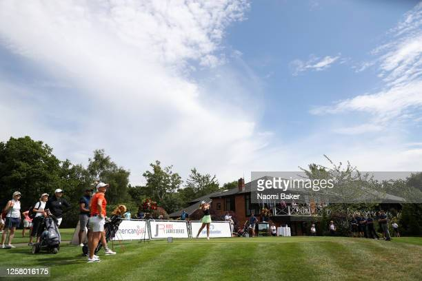 Cloe Frankish plays her shot off the 1st tee during The Rose Ladies Series at The Bearwood Lakes Golf Club on July 23 2020 in Wokingham England