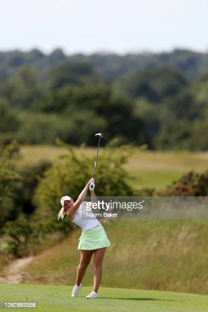 Cloe Frankish plays her shot off the 9th tee during The Rose Ladies Series at The Shire London on July 30 2020 in Barnet England