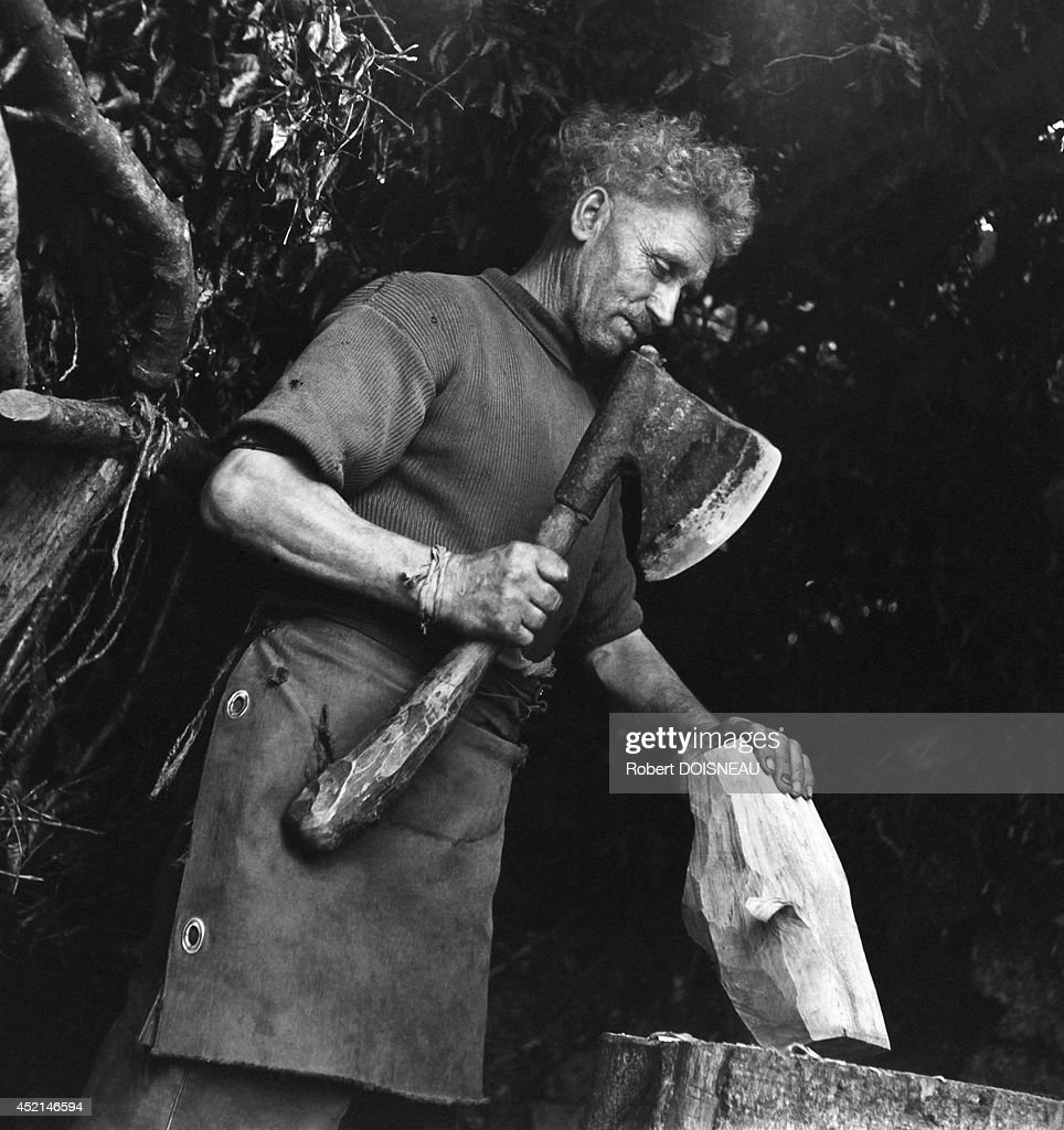 Clog maker at work, 1942 in Canach Leron in Cote d'Armor