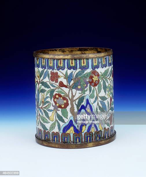 Cloisonne brushpot Qing dynasty China mid 18th century A cloisonne brushpot decorated with the Three Abundances on trees growing from mountains...