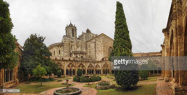 cloister and cathedral of tarragona - tarragona stock photos and pictures