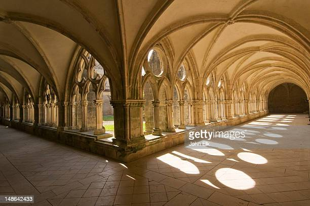 cloister at noirlac abbey. - cher stock pictures, royalty-free photos & images