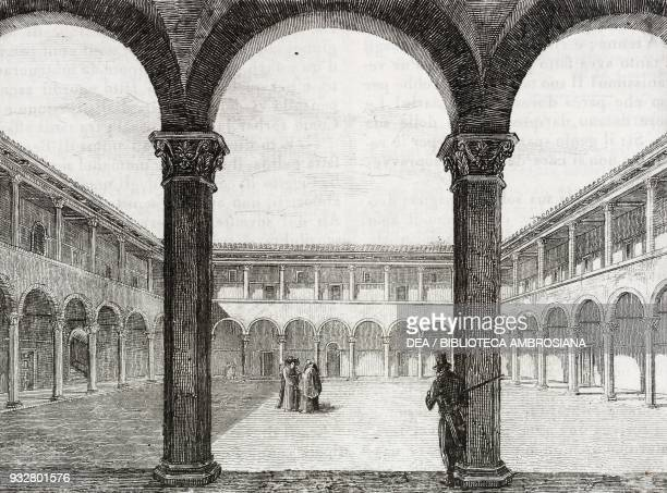 Cloister attached to the Church of St John the Baptist of the Genoans in Trastevere Rome Italy engraving from L'album giornale letterario e di belle...