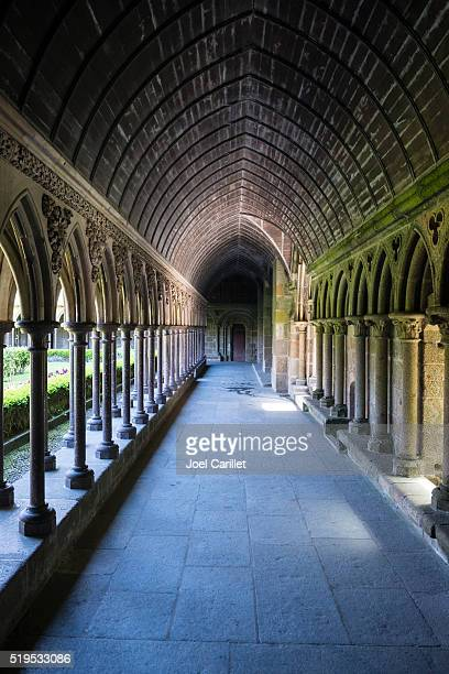 Cloister inside the abbey of Mont Saint-Michel in Normandy, France
