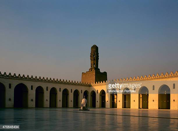 'Cloister of the alHakim Mosque by Fatimid craftsmen 928992 10th Century Marble and sandstone Egypt Cairo Detail View of the courtyard of the mosque...