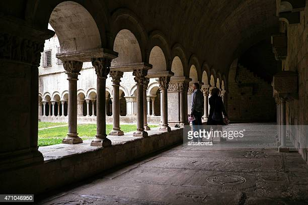 cloister of the cathedral of girona - girona stock photos and pictures