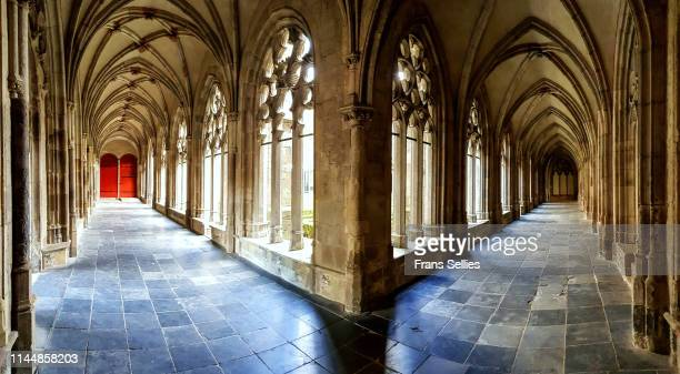 cloister of the dom church, utrecht, the netherlands - utrecht stock-fotos und bilder