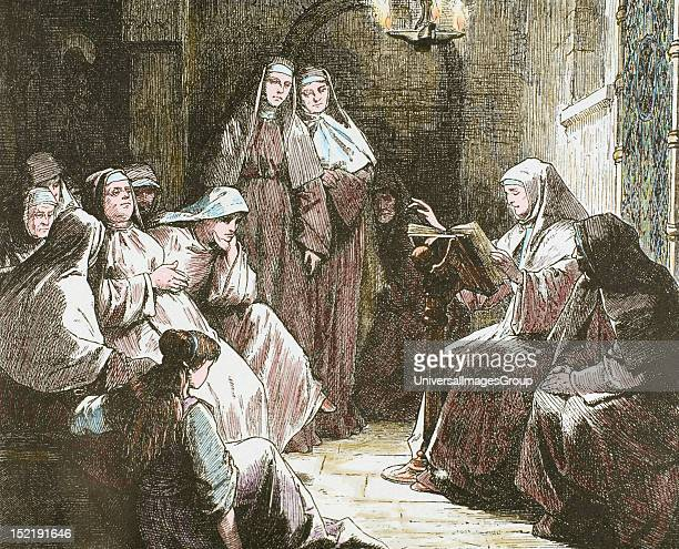 Cloistered nuns Gospel reading 19thcentury colored engraving