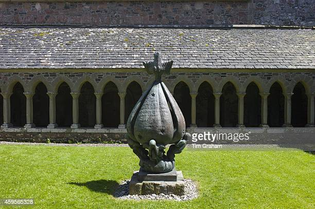 Cloisters and modern bronze sculpture 'Descent of the Spirit' by Lithuanian artist Jacques Lipchitz at Iona Abbey on Isle of Iona in the Inner...