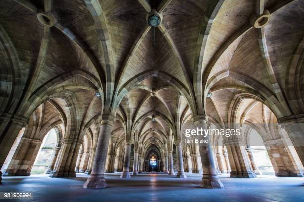 Cloisters at the University of Glasgow in Glasgow, Scotland.