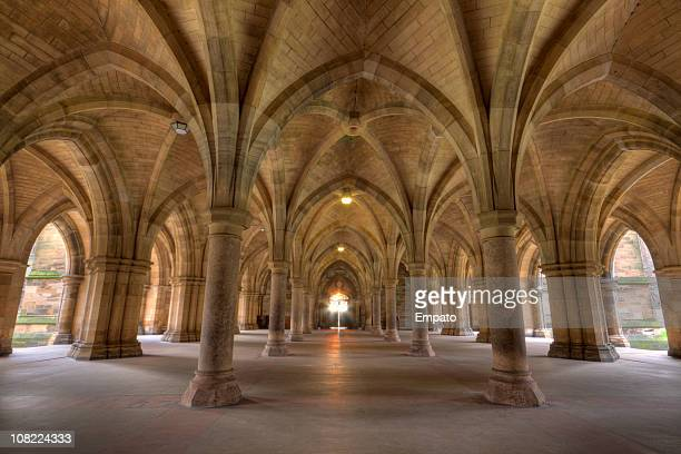 cloisters, glasgow university, scotland. - cloister stock pictures, royalty-free photos & images