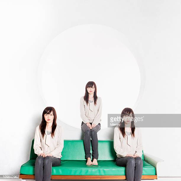 clone triplets japanese women portrait - cloning stock pictures, royalty-free photos & images