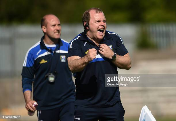Clones Ireland 9 June 2019 Cavan manager Mickey Graham celebrates after a late point by his side during the Ulster GAA Football Senior Championship...