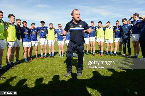 Clones Ireland 9 June 2019 Cavan manager Mickey Graham celebrates with his players in a team huddle after the Ulster GAA Football Senior Championship...