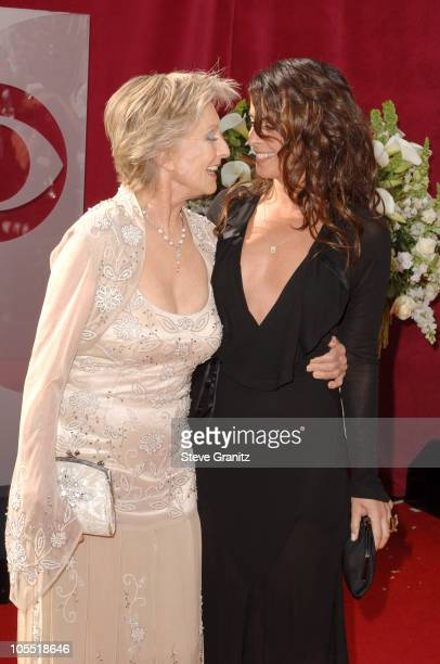 Cloris Leachman and Annabella Sciorra during The 57th Annual Emmy Awards Arrivals at Shrine Auditorium in Los Angeles California United States