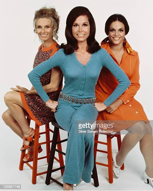 Cloris Leachman , Mary Tyler Moore , Valerie Harper pose, sitting on stools, wearing Seveties fashions, in a publicity portrait issued for the US...